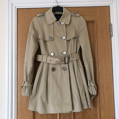 River Island Beige Belted Trench Coat Mac Flare Size UK8 EUR34