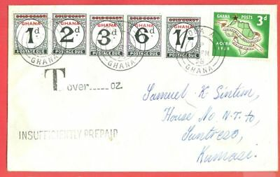 Gold Coast Postage DUE Overprint GHANA 1d 2d 3d 6d 1/  used on cover
