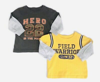 Carter's 12-18M LOT Boys T-shirts Long Sleeve HERO & Warrior Infant Toddler
