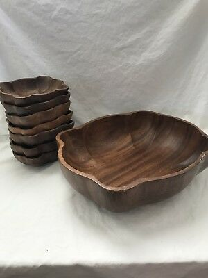 Wooden Salad Bowl Set Made In Philippines 1 Large Bowl 7 small serving bowls