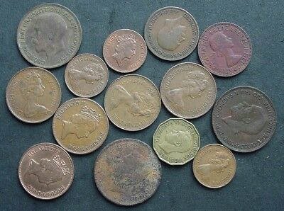 14 Copper England ~ ½ Penny 1928 1966 1 Penny 1913 2 Pence 1921 ~ 3 Pence 1949