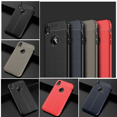 Luxury Litchi Leather Soft Rubber Carbon Fiber Slim Phone Case Cover For iPhone