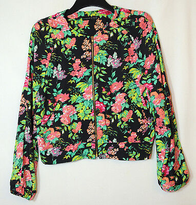 Black Green Pink Floral Ladies Casual Light Jacket Size 14 Atmosphere Casual