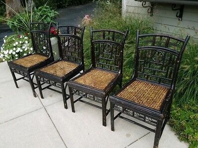 Vintage Chinese Chippendale Rattan / Bamboo Cane Chairs FOUR - PICK UP CHICAGO