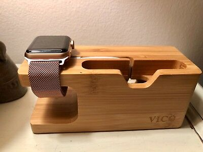apple watch series 3 38mm rose gold with GPS, charging station, and extra bands