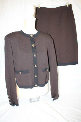 ST. JOHN Collection By Marie Gray Black & Brown 2Pc Skirt Suit, M/12 USA (139)