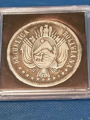 1867 Bolivia 1 Boliviano Encapsulated Coin