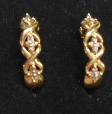 A Pair of Pre-Owned Yellow Gold J Post-Butterfly Back Earrings with Diamonds