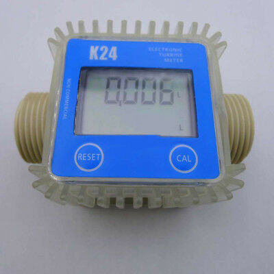 FJ- LC_ Pro K24 Turbine Digital Diesel Fuel Flow Meter For Chemicals Water Blue