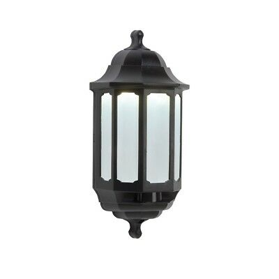 Black LED 600 Half Lantern - Outside Outdoor Wall Light - Opal Diffuser - by ASD