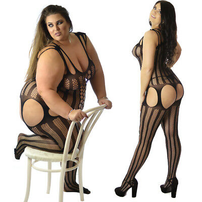 UK Plus + Size Fishnet Striped Bodystocking Lingerie Nighties Catsuit Bridal 44B