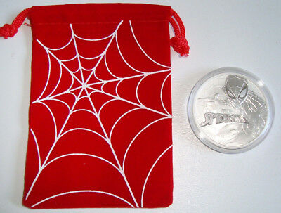 2017 1 oz Tuvalu Spiderman Marvel Coin Pouch .9999 Fine Silver Christmas Gift Sp