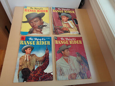 Four 1950s Dell Western Comics - The Flying A's Range Rider Nos. 4, 6, 11, 12