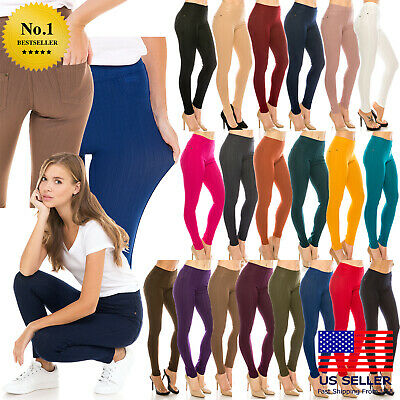Women Skinny Slim Jeggings Pants Colorful Cotton Blend Solid Stretch Soft Denim