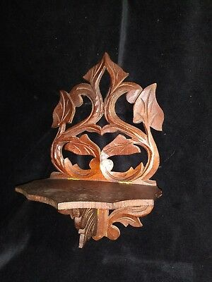 Antique Victorian Finger Lamp Candle Walnut Folding Wall Watch Shelf Hand Carved