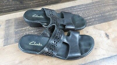 Clarks women's size 8M black leather open toe wedge sandals shoes ////