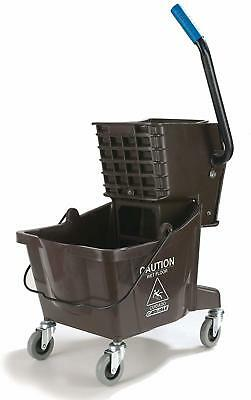 Commercial Mop Bucket With Side Press Wringer, 26 Quart Capacity, Brown