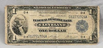 1914 $1 Federal Reserve Bank Of Cleveland Ohio National Currency Large Note!