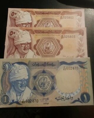 Lot Of 3, Sudan Banknotes, 2-50 Piastres, 1-1 Pound, 1981-3.