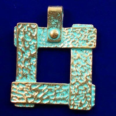 Carved Brass Bronze Pendant Bead 52x41x3mm L82137