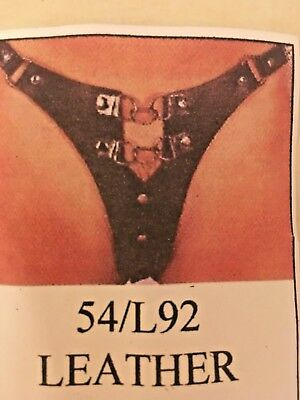 "Real Leather Black Studded Thong/ G-String In Adjustable Size 32""-50"""