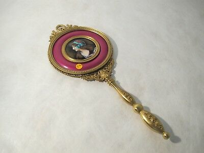 19th CENTURY, FRENCH HAND MIRROR. BEAUTIFUL ENAMEL WOMAN ON REVERSE.
