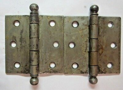 "Pair 2 Antique 3"" Square Hinges Ball Tips Finials Raw Steel Square Mortise Door"