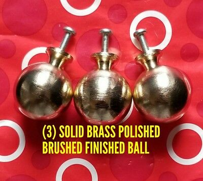 "(3)Solid Brass Polished Brushed Finished Ball Wood Finials 1-1/4""x1-1/2"" W/ Bolt"