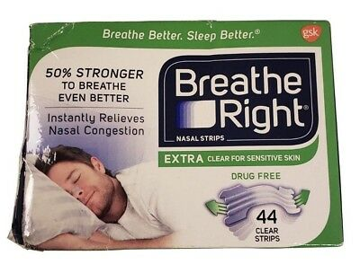 757GSK Breathe Right Nasal Strips Extra Clear Sensitive Skin 44 Clear Strips NEW
