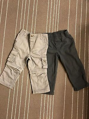 Lot of 2 Toddler Baby Boys Baggy Pants Jeans Gray Sz 18 24 mo NWOT
