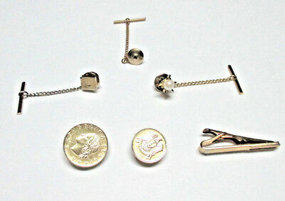 Gold Tone Mens Jewelry Lot Various Tie Tacs,coins-Italy,swank Clip,pearl,spare