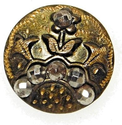 SMALL Antique VINTAGE VICTORIAN Brass & CUT STEEL Button TINY Flower  9/16 #26