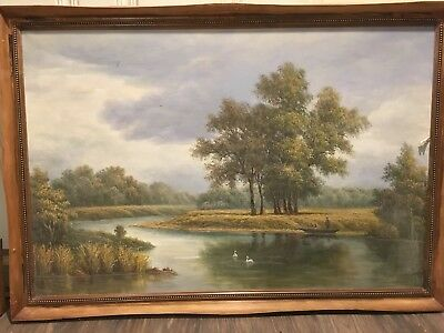 BEAUTIFUL OIL PAINTING / Typical River Scenery With Swans For English Pub 40x28