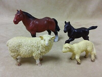 Bullyland Farm Animals Figures Lot of 4, Stallion, Foal Male, Sheep Mom & Baby