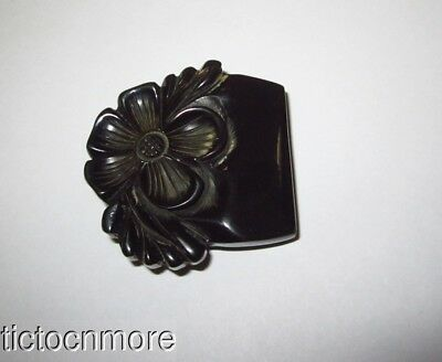 Vintage Carved Dark Green Bakelite Blooming Flower Floral Belt Buckle