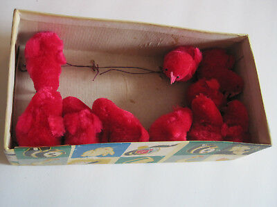 Set of 10 Vintage Chenille Red Roosters Chicks Easter New old Stock with Box