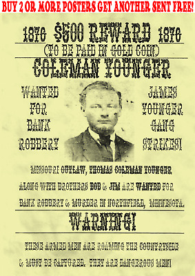 Cole Younger Poster Wanted Old West Western Outlaw Bank Rob Jesse Gang