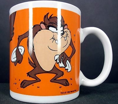 Tazmanian Devil Coffee Cup/Mug 1998 Looney Tunes Orange Warner Brothers 12 ounce