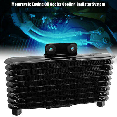 Engine Motorcycle Oil Cooler Radiator SYSTEM Aluminum Black 125ml Replacement
