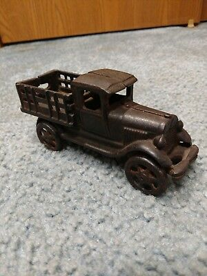 Rare Antique Vintage Cast Iron Toy Stake Bed Truck Old Toy Arcade Gas Station