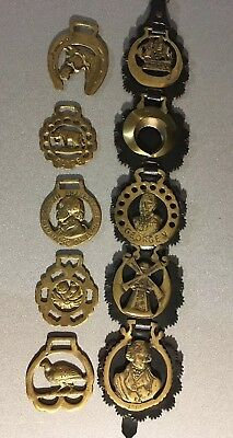 Vintage Lot of 10 Solid Brass Horse Harness Bridal Tack Medallions