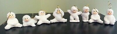 Lot of 8 Snow Baby Snowbabies White Ornaments Unmarked