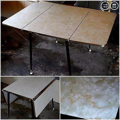VTG 50s-60s WALTER OF WABASH  Lt.GREEN/COPPER Swirl Drop Leaf Formica Table