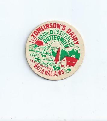 """Tomlinson`s Dairy""   Walla Walla, Wn. (Wa.)  milk bottle cap."