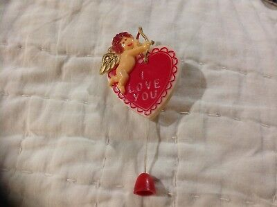Vintage Plastic Heart Pin with Moveable Cupid Pull String Shooting Arrow I ❤️ u