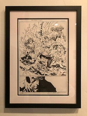 JUSTICE LEAGUE #12 p 2 JIM LEE ORIGINAL COMIC ART Sign by Jim Lee