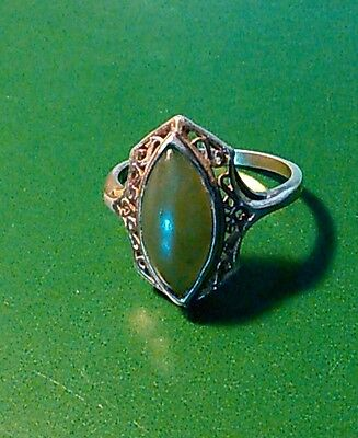 Vintage Open Work Filigree Sterling Silver & Jade Ring--Size 7-8 - Beautiful!