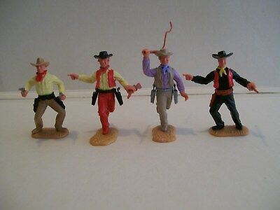 timpo cowboys 3 painted with quality hobby paint & 1 unpainted in good condition