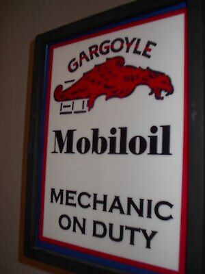 $$$ Mobil Gargoyle Oil Gas Service Station Advertising Man Cave Lighted Sign