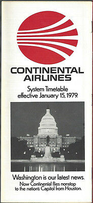 Continental Airlines system timetable 1/15/79 [6031] (Buy 3+ Save 25%)